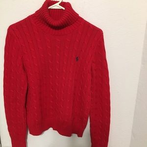Large Ralph Lauren Sport cowl neck sweater. Red